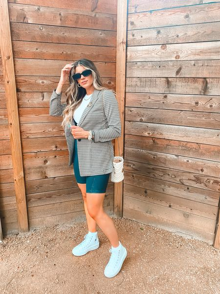 All the 90s vibes Sunglasses Biker shorts Blazer Transition into fall   #LTKunder50 #LTKsalealert #LTKstyletip
