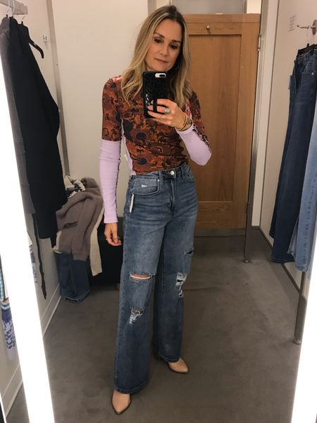 Nordstrom fall try on! Free people top, wide leg jeans. Wearing size XS in top and 25 in jeans  Sale denim, high waisted jeans, straight leg jeans, distressed jeans, under $50 jeans, denim trends, casual outfit, fall outfit, school outfit   #LTKstyletip #LTKunder50 #LTKsalealert
