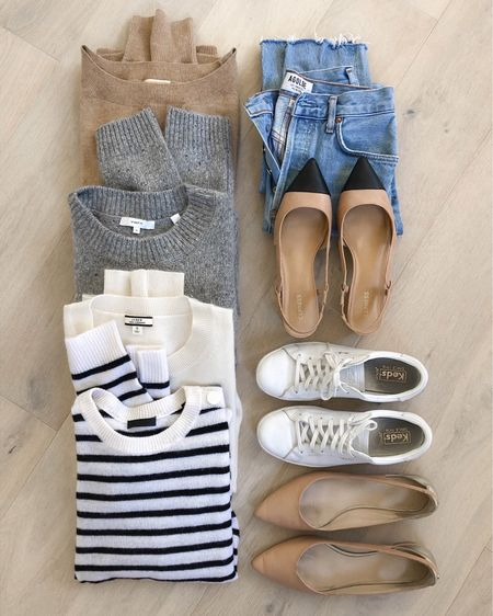 Fall outfit staples and favorite styles. Striped sweater, grey sweater, white sweater and camel sweater to pair with denim—whether dressed up with slingback heels or down with sneakers. Many are older styles but I shared dupes where I could. 🤍  #LTKSeasonal #LTKstyletip #LTKsalealert