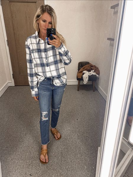 NSale Nordstrom  N sale Button up Flannel Blue and white (Actually wearing the target jeans here)   #LTKSeasonal #LTKunder100 #LTKstyletip