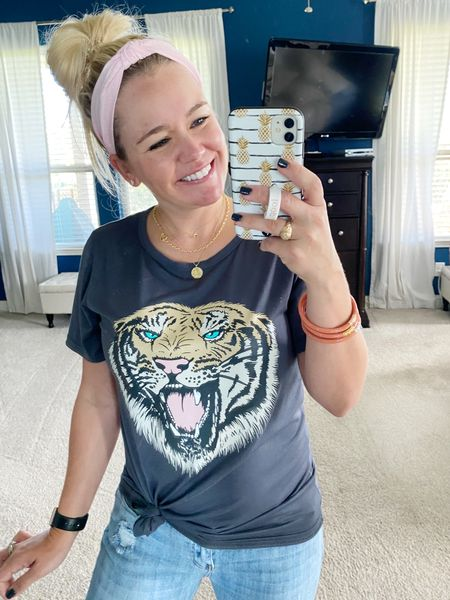 Grrr! 🐅 This printed tee from @amazon is only $15 and is great for layering this fall. The care instructions say dry clean only, but I just did hand wash and air dry. Shirt did just fine! 🤘🏼  #LTKstyletip #LTKsalealert #LTKunder50