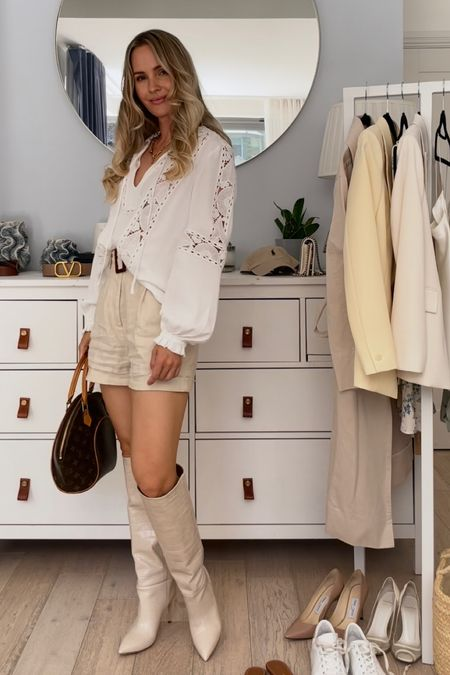 I'm 5'5 and I'm wearing a size 6 in the white blouse and the beige shorts. They are both true to size.  I sized up 1/2 size in my cream Paris texas boots.  My brown tribute sandals are true to size.   #LTKSeasonal #LTKstyletip #LTKDay
