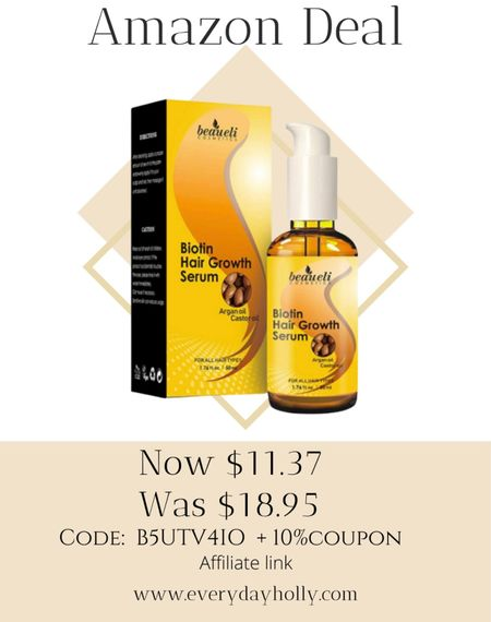 Amazon Deal! Biotin Hair Growth Serum with Castor Oil, Argan Oil - Hair Loss Prevention Treatment with fine thinning hair Formula to Help Grow Healthy Thicker Strong Hair for Men & Women 40% OFF  code: B5UTV4IO   + 10%coupon  #LTKunder50 #LTKbeauty #LTKsalealert