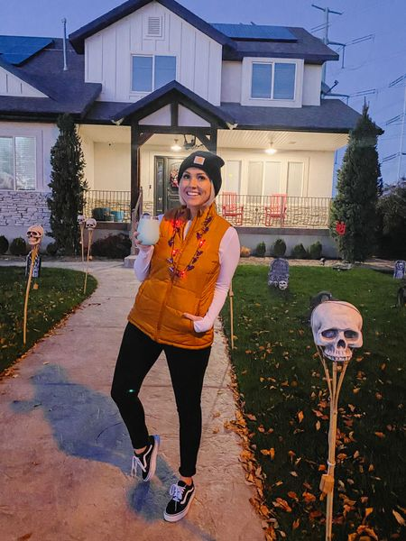 My Halloween-Mom look!  Vest is Amazon! Color: Dark Camel Long sleeve shirt - SO GOOD!  Amazon as well! In the small and under $15!! Vans, Carhartt Beanie and tumbler all linked as well!  #LTKstyletip #LTKGiftGuide #LTKHoliday
