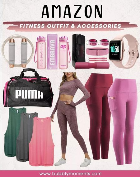 Women's Yoga Pants, High Waisted Yoga Leggings with Stretch Sports Bra, Baseball Cap, AdjustableSkipping Rope for Workout, Smart Watch Fitness Tracker, Sports Water Bottle, Puma Women's Duffle, and Workout Tank Tops, Barbell Squat Pad. Amazon Fitness Outfit and Accessories.   #LTKbeauty #LTKSeasonal #LTKfashion #LTKtrends #LTKfitness #amazon #amazonfinds #amazonfavorites #amazonfitness #fitness #workout #sports #outdoor #exercise #training #yoga #health #wellness #leggings #yogapants #cap #trainingcap #skippingrope #smartwatch #trainingwatch #fitnesstracker #fitnesswatch #gymbottle #sportswaterbottle #puma #pumabag #gymbag #trainingbag #tanktops #yogatops #barbellsquatpad #barbellpad