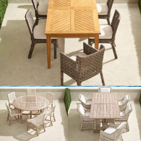 What is your alfresco dining style? These transitional natural teak Dinging sets are comfy and super durable. Also the open weave design on the chairs  can make any outdoor space feel airy and fresh! Save big today!    #LTKhome #LTKsalealert