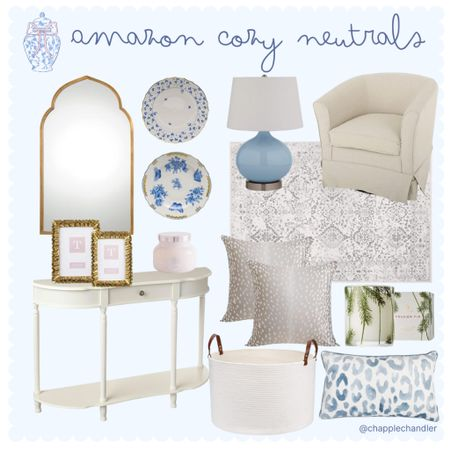 Amazon Cozy Neutrals . Blue and white home decor lighting lamp area rug white console mirror decorative plates accent chair antelope pillow blue leopard pillow moms mom's pillow throw pillows storage baskets entryway living room    #LTKunder50 #LTKunder100 #LTKhome
