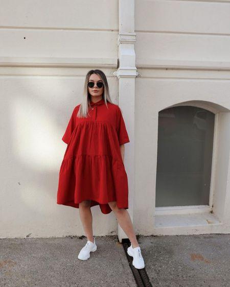Red dress, mango, shirt dress, oversized dress, red, summer dress, white trainers, Steve Madden, summer fashion, ootd inspo http://liketk.it/3hOyb #liketkit @liketoknow.it