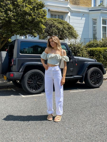 This gingham crop top teamed with these topshop one wide leg jeans is the perfect outfit for these warm days!   I've finished the look off with some rope sandals     #LTKeurope #LTKSeasonal