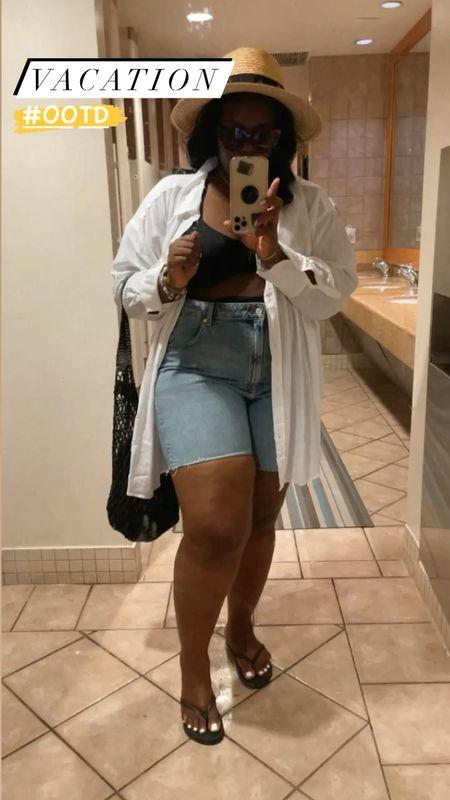 Vacation ootd linen shirt , underwire bikini , cut off Bermuda Jean shorts #plussize , straw hat , initial necklace #Nsale #LTKVideo  #LTKcurves #LTKSeasonal #LTKunder50