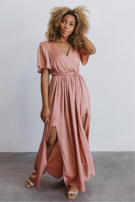 Blush dusty rose  satin maxi dress—perfect for your engagement session or for a wedding guest dress. Now 15% off with code   http://liketk.it/3iwzB @liketoknow.it #liketkit #LTKwedding #LTKunder100 #LTKsalealert
