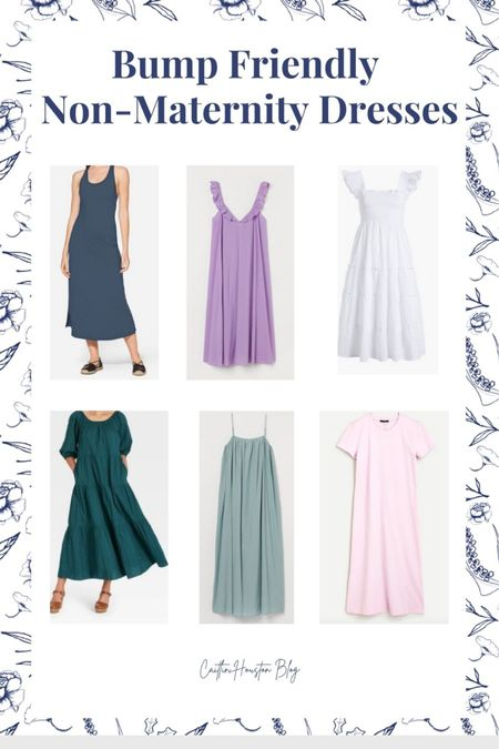 Bump friendly dresses - non maternity dresses to wear while pregnant - puff sleeve maxi dress from target - hill house     #LTKbump #LTKstyletip #LTKunder100