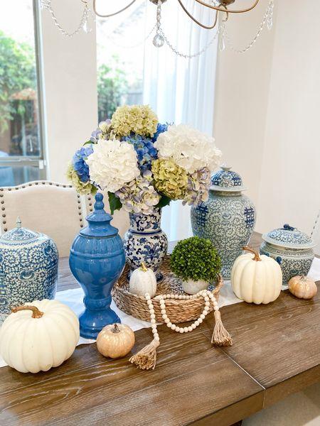 Amazon kitchen favorites  #blueandwhite #gingerjar #pumpkin #white #tassel #fauxflower #decor #tablescape #tabledecor #kitchen #home #house    #LTKunder50 #LTKstyletip #LTKhome