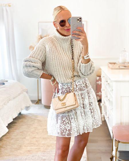 White lace mini dress. Chunky sweater H&M. Neutral style. Revolve. Victoria Emerson.   #LTKSeasonal #LTKstyletip #LTKunder100