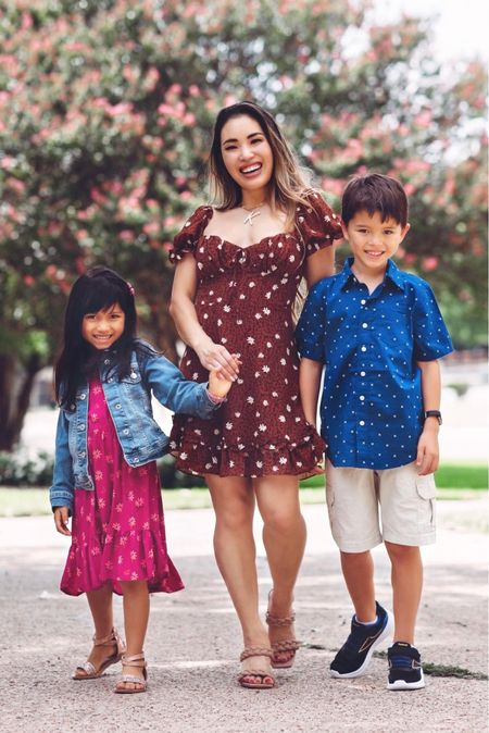 Back to school looks for the whole family from JCPenney! Women's floral ruffle dress - size 3 / size up  Boys printed navy button down shirt - 8 / size down  Girls pink floral dress - size 4/5 / size down  Girls denim jacket - size 4/5 / size down    #LTKunder50 #LTKfamily #LTKkids