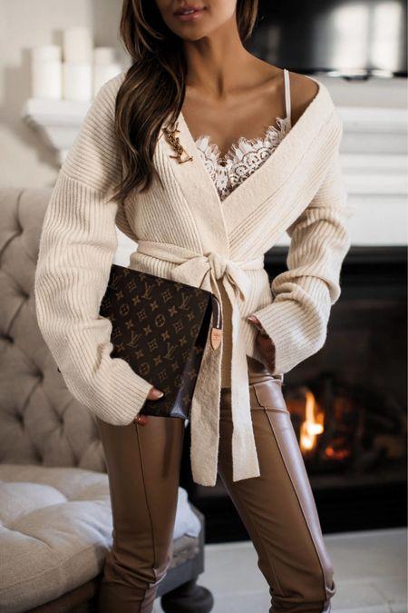 Fall date night outfit  Tularosa wrap cardigan  Kyria Lace Bralette  Tan faux leather pants  #datenight  #LTKSeasonal #LTKstyletip #LTKunder100