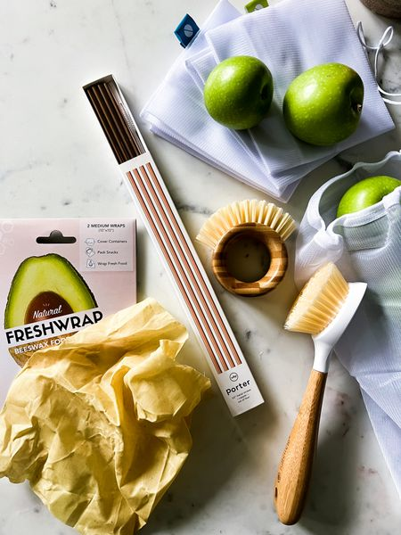 These metal straws are so much better for the environment than plastic.  And then we have these Full Circle vegetable scrubber and dish brush- made from sustainable bamboo and recycled plastic bristles. They are pretty and functional.  Reusable produce bags are a must, and this comes in a set of 5.  And don't forget about reusable beeswax wraps by Freshglow Co.  They can use these instead of plastic wrap or tinfoil, saving the environment!  #LTKGiftGuide