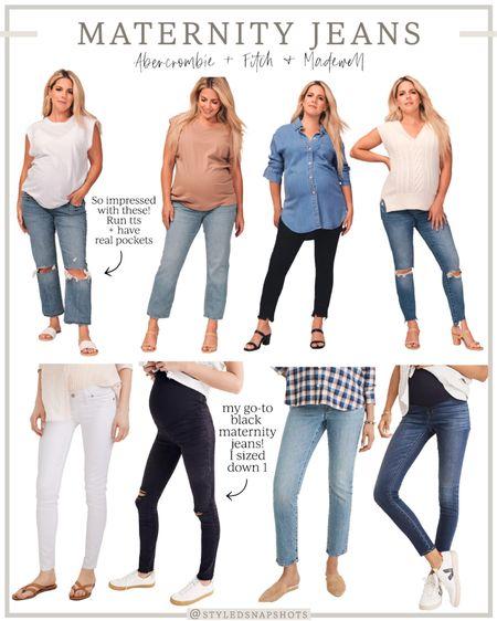 Maternity Jeans // maternity style // bump style   #LTKSale #LTKbump  #LTKunder100