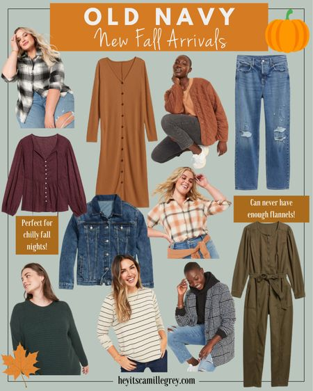New fall arrivals from Old Navy Plaid flannels, straight leg denim, dark wash denim jackets, dark green tunic sweaters, black and white blazer, olive jumpsuit, button up sweater dress, quilt jacket  In Old Navy, I like to size up to a Small in their tops and jackets. TTS for pants and sweaters   #LTKSale #LTKSeasonal #LTKunder100