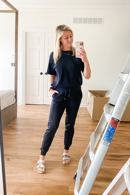 For those mornings where you don't want to wear your pajamas to school dropoff, but still want to feel like you're wearing pajamas and just look slightly cuter 💁🏼♀️   And not quite done with the chandelier yet, obviously. 😆   #momlife #athleisure #joggers #allblack #black #birkenstocks #transitional #comfy #comfycasual #outfit #ootd   #LTKunder100 #LTKstyletip #LTKSeasonal