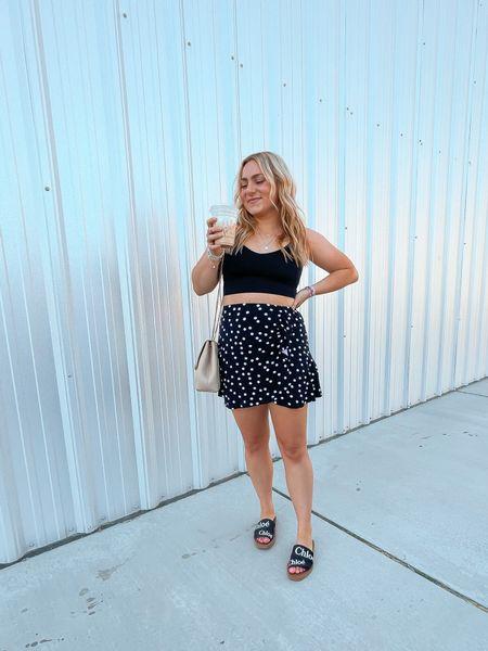 Under $20 skirt Athleisure crop Chloe slides Designer sandals   #LTKstyletip #LTKshoecrush