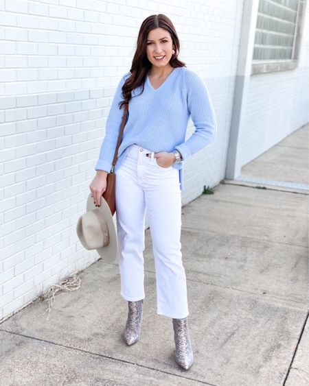 In the south, we'll start transitioning into spring weather in the next few weeks & this outfit is what I'll be living in. This beautiful J.Crew periwinkle sweater screams SPRINGTIME & is on sale today for $39, available in white & mustard, too! This will be the perfect piece to transition into the new season & you can't beat that price. Shop the whole outfit with the link in my bio. 🤍 -  http://liketk.it/36i6v @liketoknow.it #liketkit #LTKunder50 #LTKsalealert #LTKshoecrush
