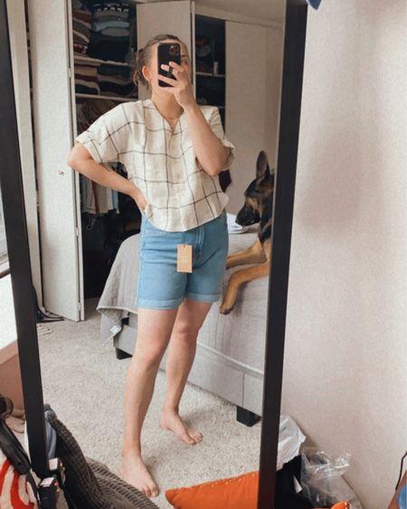 Denim shorts | summer wardrobe | linen tops   http://liketk.it/3htzE @liketoknow.it #liketkit #LTKunder100 #LTKunder50 #LTKstyletip