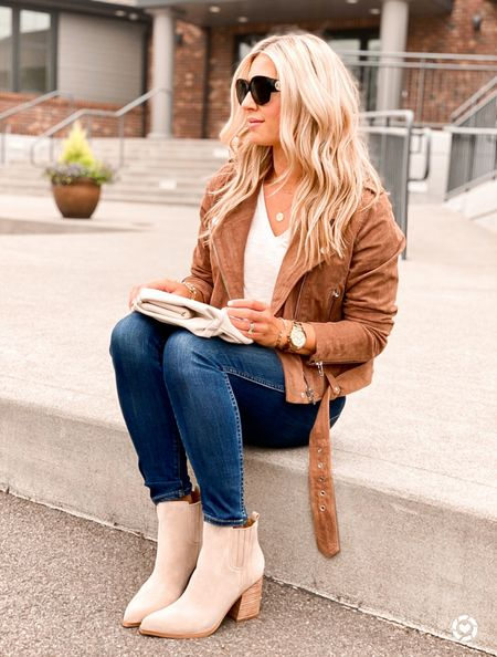 Suede jacket (I'd size up) outfit idea that is actually comfortable. I can wear this jacket for hours and it molds perfectly!   #LTKSeasonal #LTKstyletip #LTKunder100