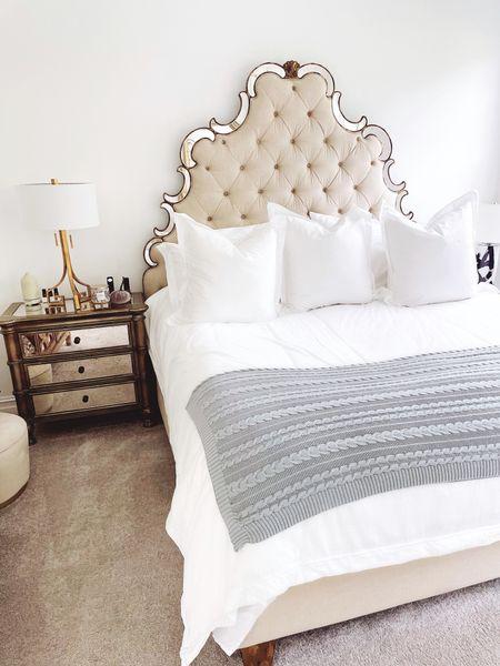 http://liketk.it/3pHvK Guest Bedroom, Mirrored headboard, Hooker Furniture, Emily Ann Gemma home, Fall Bedroom Decor