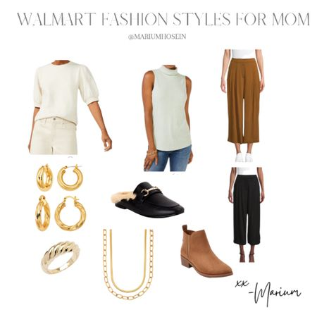 Love these versatile pieces from Walmart. I'm wearing a size small in the top and a size small in the pants. Also this gold jewelry makes such a statement with daily outfits.   #LTKstyletip #LTKbeauty #LTKSeasonal