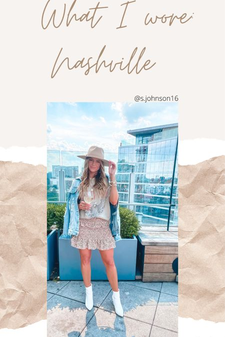 Nashville look to shop in the gulch & visit rooftop bar  Size small in oversized tee Size medium in skirt Boots are TTS Denim jacket is oversized- order a size down. I got XS  http://liketk.it/3hSnf @liketoknow.it #liketkit #LTKsalealert #LTKstyletip #LTKunder50