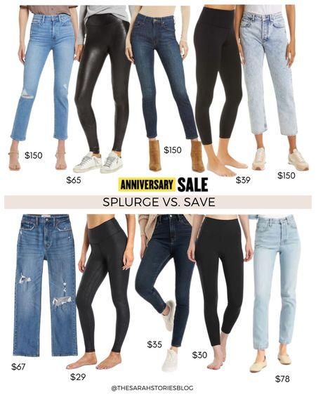 Nordstrom Sale alternatives, #nsale dupes, look for less // Save vs Splurge // denim slim straight leg jeans, faux leather leggings, high rise skinny jeans, crop leggings, high rise flare jeans http://liketk.it/3jXRN #liketkit @liketoknow.it #LTKunder100 #LTKsalealert