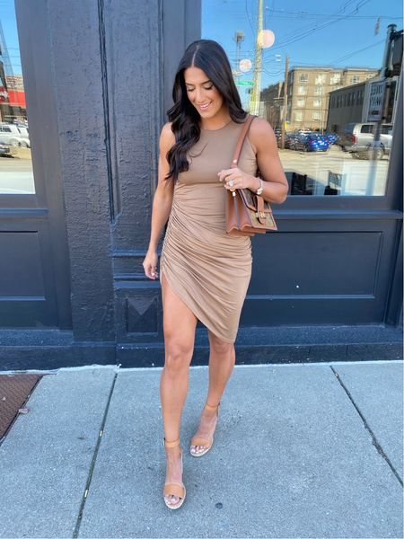 High slit dress, would be great with a moto jacket or for a wedding guest dress   #LTKSeasonal