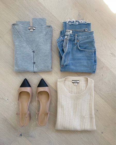 Summer to fall style in lightweight yet cozy sweaters. 🤍Recommend sizing UP in the grey button-down sweater.   #LTKunder100 #LTKSeasonal #LTKsalealert