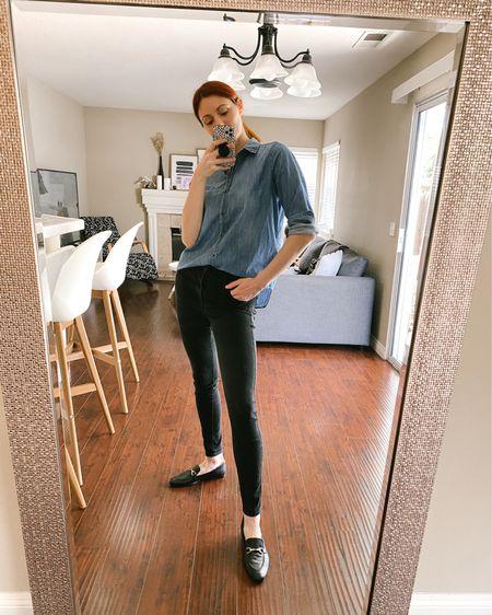 Black loafers, black Levi's 720 high rise skinny jeans, black H&M denim shacket.   http://liketk.it/3eQbs #liketkit @liketoknow.it #LTKunder50 #LTKunder100 #LTKshoecrush