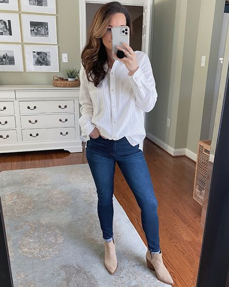 Friday dinner style ✌🏼  • Shirt: $15 Target (size down) wearing S wish I got xs  • Jeans: Abercrombie fit TTS high rise + super stretchy  Booties: fit tts   http://liketk.it/3dHS1 #liketkit @liketoknow.it