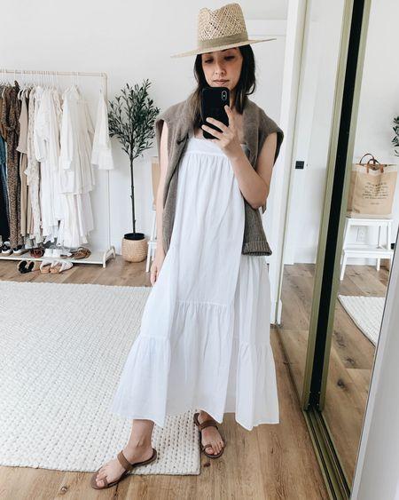 The perfect white summer dress. White dresses for summer. Use code Crystalin15 to get 15% off Jenni Kayne.   Dress - Jenni Kayne xs Sweater - Jenni Kayne xs Sandals - Jenni Kayne 6 Hat - Janessa Leone small  http://liketk.it/3hGMC @liketoknow.it #liketkit #LTKshoecrush