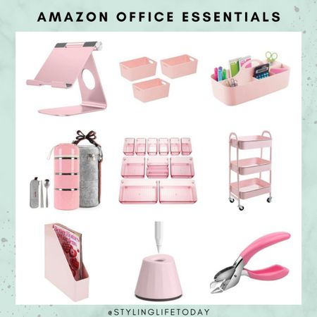 Pink office essentials. Work from home. Home working. Pink office. Amazon home. Amazon finds  #LTKeurope #LTKhome #LTKbacktoschool