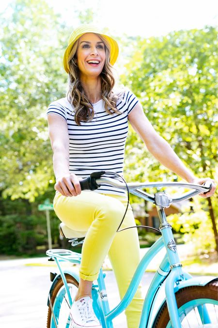 Yellow jeans are the perfect pop of color to this outfit.    #LTKstyletip #LTKunder50 #LTKsalealert