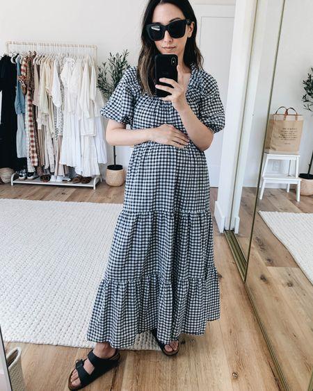 Mango gingham dress on sale!  Dress- Mango xs Sandals- Birkenstock 4/4.5 narrow Sunglasses- Quay  http://liketk.it/3iGVK @liketoknow.it #liketkit #LTKsalealert #LTKunder50