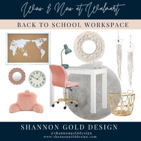 Create a Back to School workspace with Walmart's Wow and Now section. Inexpensive for n trend home decor items for the office, kitchen and more. Female girls office workspace inspiration. Parsons desk, pink and gold office chair, gray fluffy rug, boho home decor, wall hangings, map bulletin board, boho mirror, rattan basket, desk lamp, fur backrest pillow mint green wall clock.     #LTKkids #LTKhome #LTKstyletip