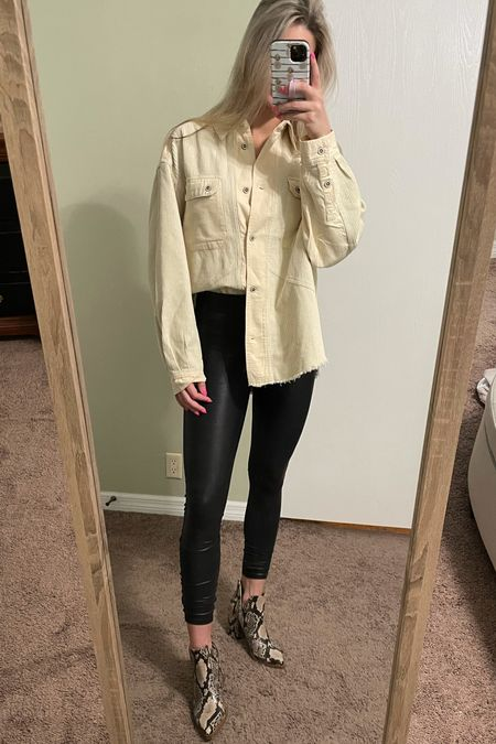 Size up in booties & Spanx      Nordstrom sale Fall outfit  Spanx Steve Madden Boots Booties Fall booties Shacket outfit Jacket Fall jacket  #LTKunder100 #LTKshoecrush #LTKsalealert
