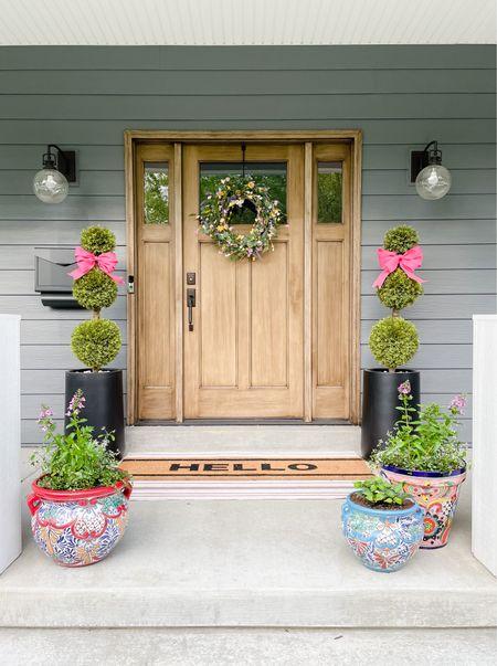 Outdoor lighting, mailbox, topiary, planter, tall planter, washable rug, doormat, wreath, summer wreath  #LTKhome #LTKstyletip #LTKunder100
