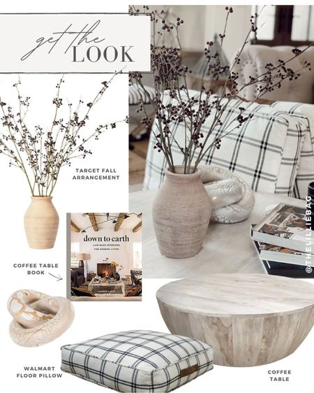 Get the look: fall decor. Faux fall arrangement. Living room decor. Coffee table. Floor pillows. Walmart decor. Amazon finds. Target decor. Coffee table books.   #LTKunder100 #LTKstyletip #LTKhome