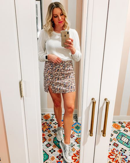Floral mini skirt / silver star sneakers / girls night outfit / night out outfit / spring outfit @liketoknow.it #liketkit #LTKSeasonal #LTKunder50 #LTKstyletip http://liketk.it/3ar8w