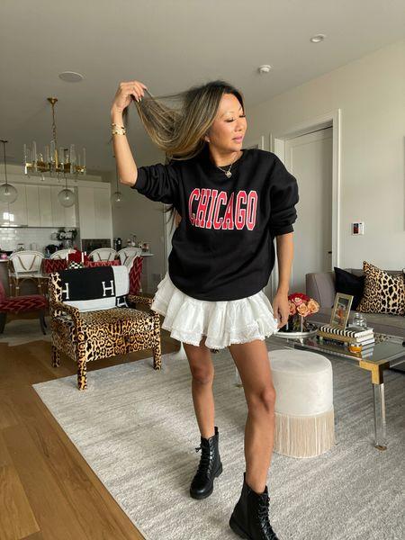 Sweatshirt style, chicago style, combat boot style, affordable outfits   #LTKstyletip #LTKSeasonal #LTKunder100