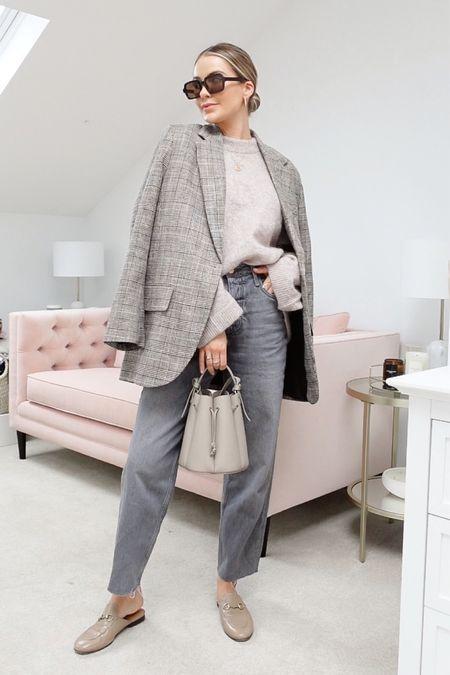Blazer, grey jeans, loafers