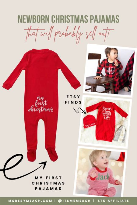 Some of the newborn Christmas pajamas I've been eyeing up for our baby boy!! 🥰 Most of these are Etsy baby finds if you're into supporting small businesses like I am! Click to shop. 🤍 monogrammed Christmas pajamas, first Christmas pajamas, Etsy Christmas, newborn Christmas gifts, newborn Christmas outfit boy   #LTKHoliday #LTKbaby