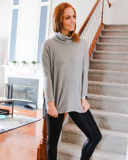 True story: I went to take these photos and realized it was snowing...so that's why they're in front of the stairs instead. Oh, and then we were under a tornado warning a few days later 🤷🏼♀️ Crazy North Carolina weather 🤪  . I recently partnered with @shoppinkblush to share this super cute gray tunic and how I styled it 3 different ways - go check it out in my latest blog post! Link is in my bio ❤️  http://liketk.it/2Kgpg @liketoknow.it  #liketkit #LTKstyletip #LTKunder50 #LTKunder100