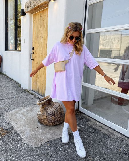 $16 t-shirt dress thats the perfect casual throw on dress! Paired with these cute butterfly clips and crew socks! Linking it all... bag is sold out but linked 2 similar ones http://liketk.it/3ffuG @liketoknow.it #liketkit #LTKunder50 #LTKsalealert #LTKstyletip